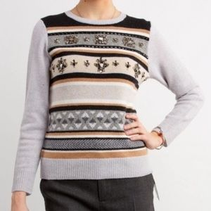 J Crew Wool Pullover Embellished Sweater Size XS